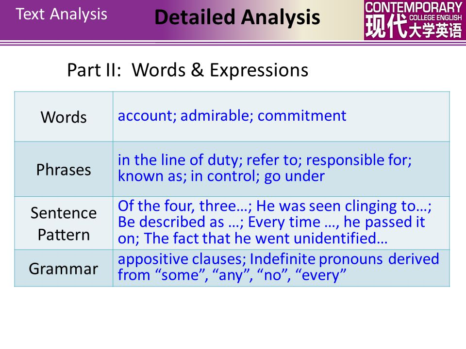Detailed Analysis Part II: Words & Expressions Text Analysis Words
