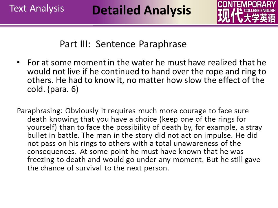 Part III: Sentence Paraphrase