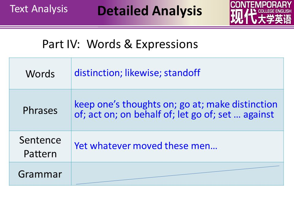 Detailed Analysis Part IV: Words & Expressions Text Analysis Words