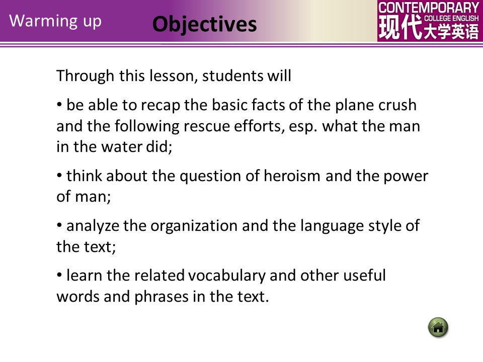 Objectives Warming up Through this lesson, students will