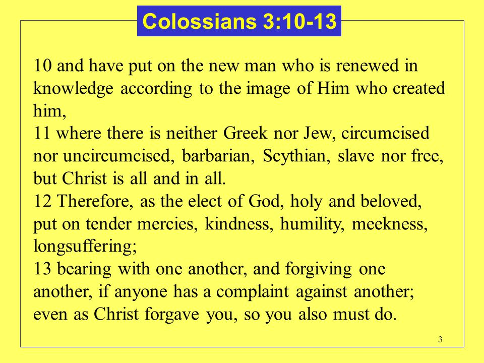 Colossians 3:10-13 10 and have put on the new man who is renewed in knowledge according to the image of Him who created him,