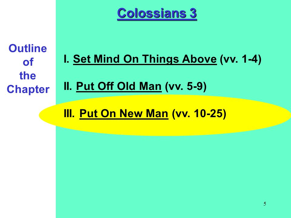Colossians 3 Outline of the Chapter