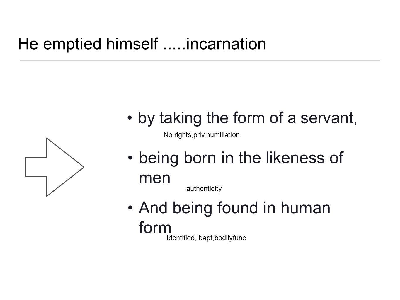 He emptied himself .....incarnation