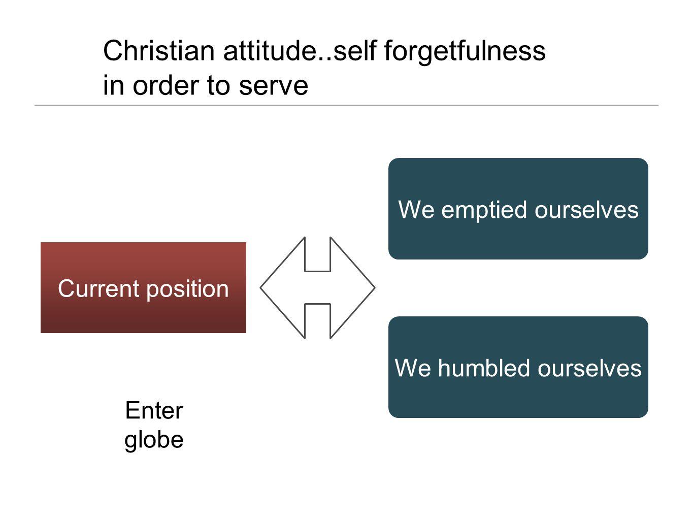 Christian attitude..self forgetfulness in order to serve