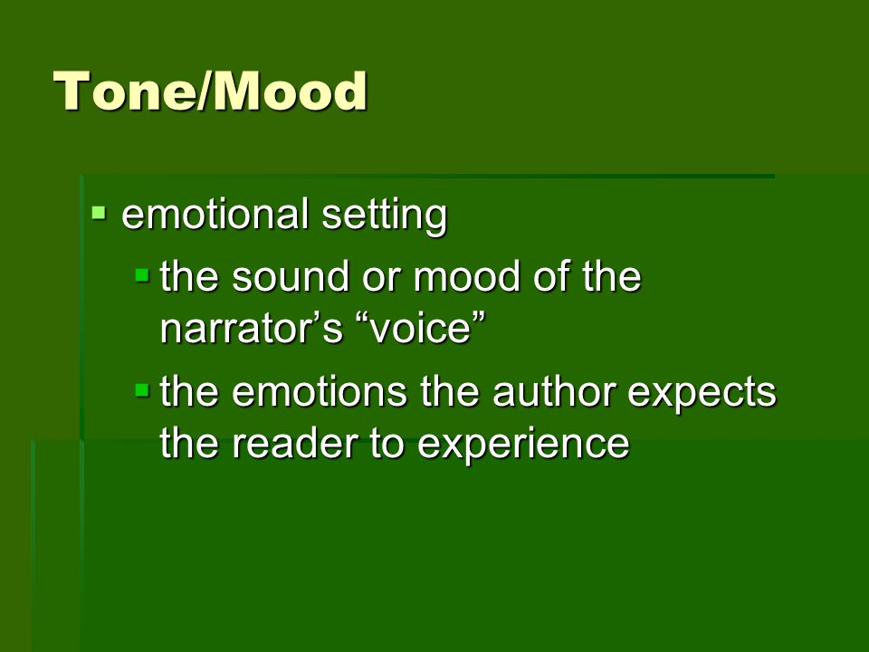 Tone/Mood emotional setting