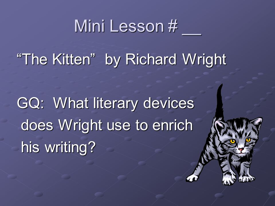 Mini Lesson # __ The Kitten by Richard Wright