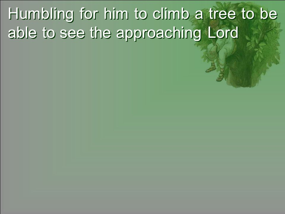 Humbling for him to climb a tree to be able to see the approaching Lord