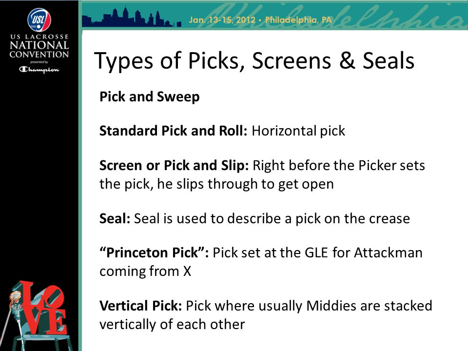 Types of Picks, Screens & Seals