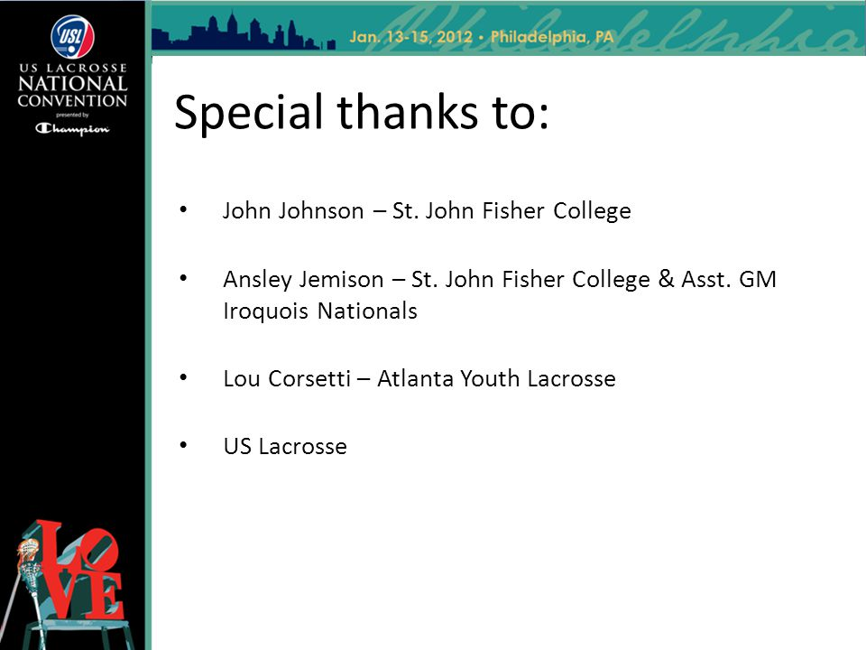 Special thanks to: John Johnson – St. John Fisher College