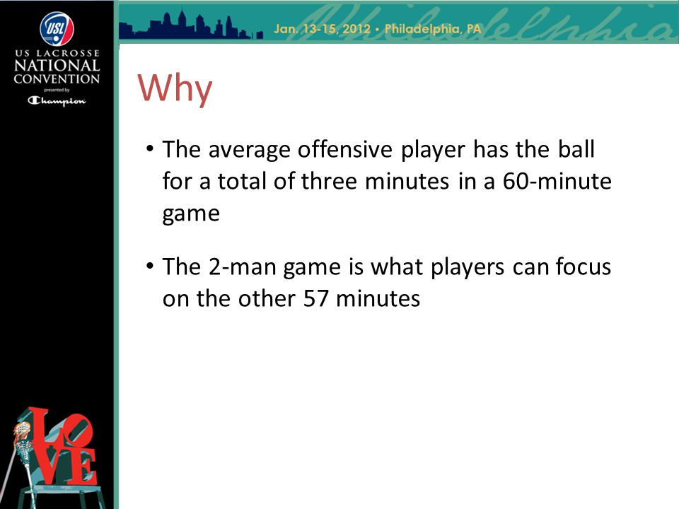 Why The average offensive player has the ball for a total of three minutes in a 60-minute game.