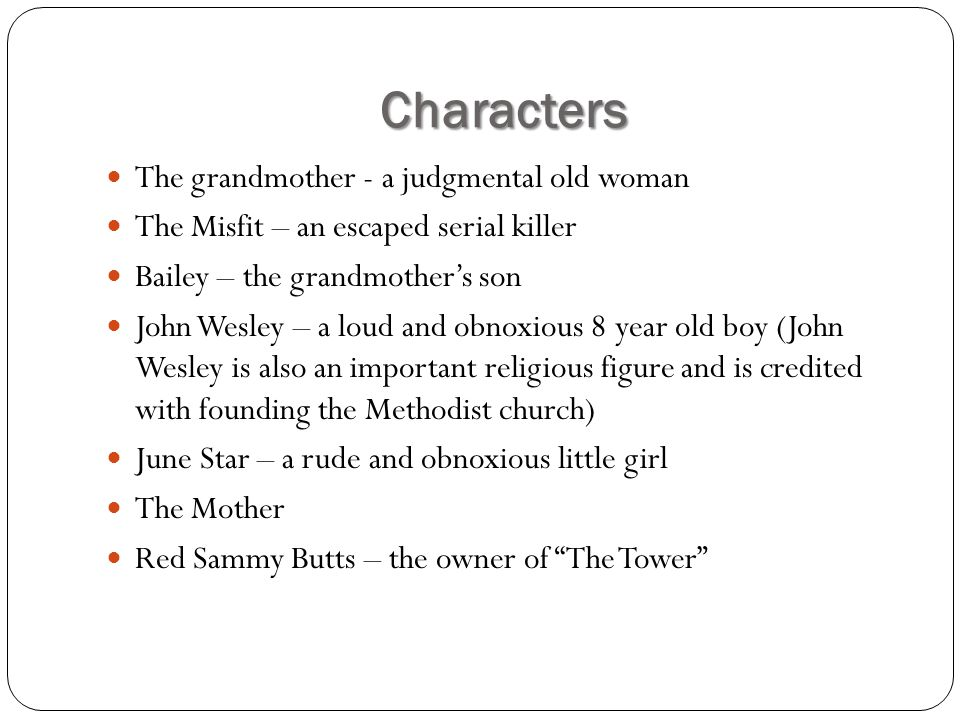 character analysis of a good man is hard to find