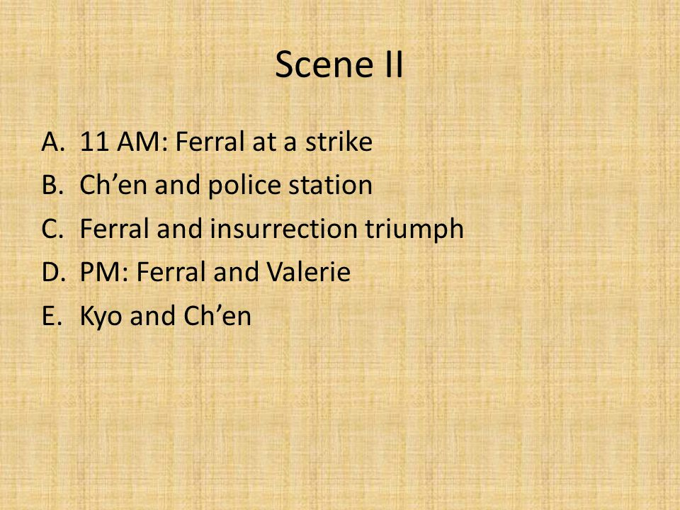 Scene II 11 AM: Ferral at a strike Ch'en and police station