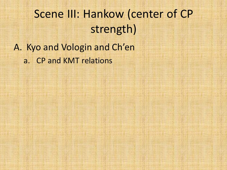 Scene III: Hankow (center of CP strength)