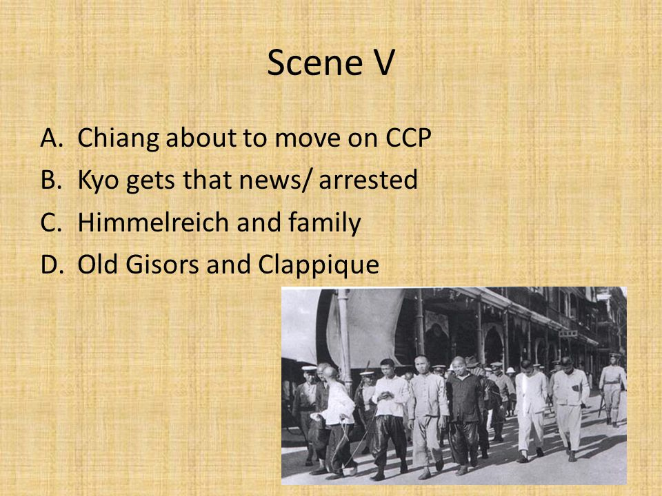 Scene V Chiang about to move on CCP Kyo gets that news/ arrested