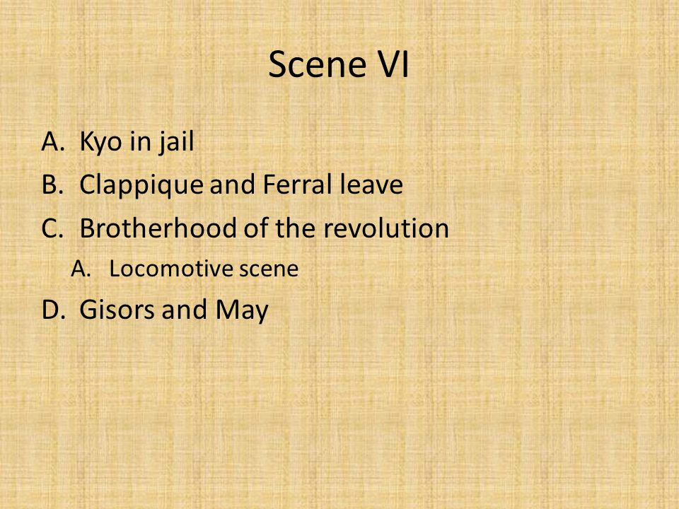 Scene VI Kyo in jail Clappique and Ferral leave
