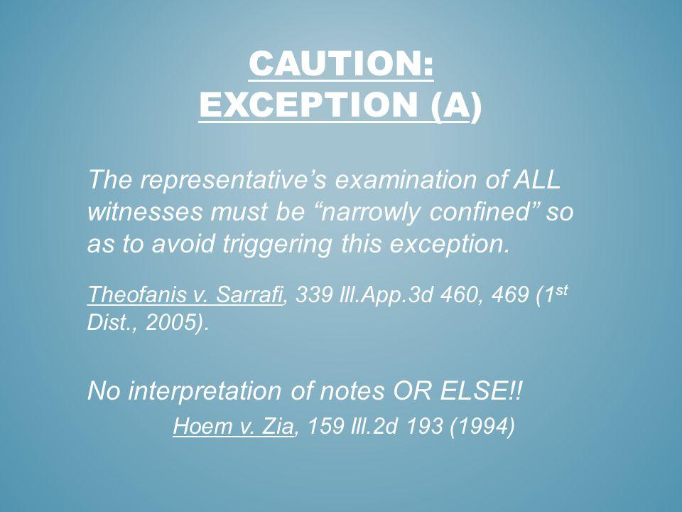 Caution: exception (a)