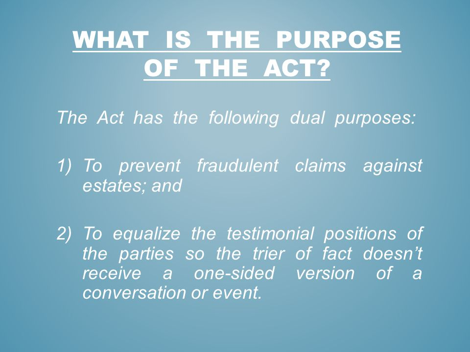 What is the purpose of the act