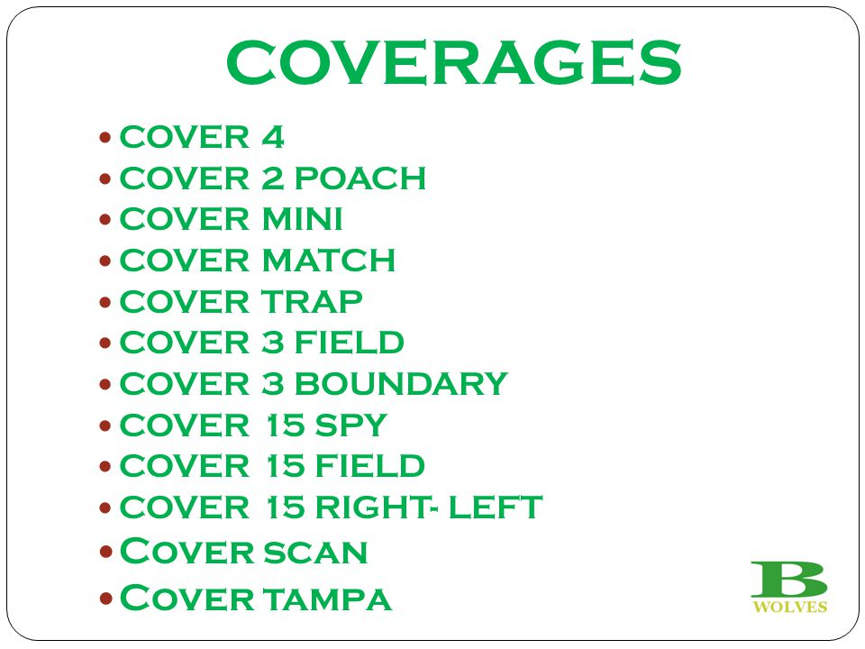 COVERAGES Cover scan Cover tampa COVER 4 COVER 2 POACH COVER MINI