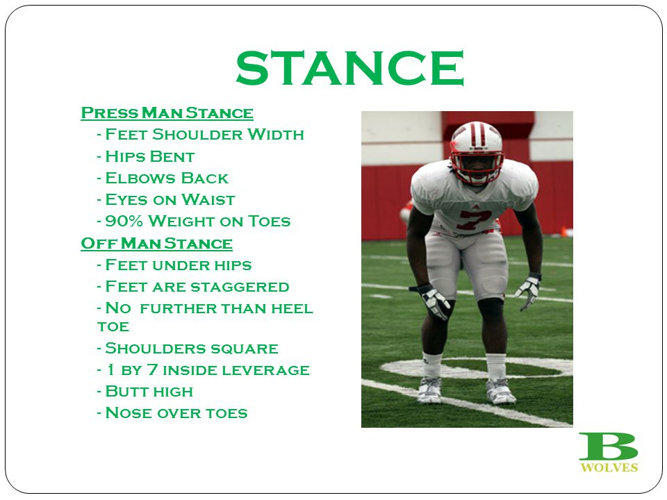 STANCE Press Man Stance - Feet Shoulder Width - Hips Bent