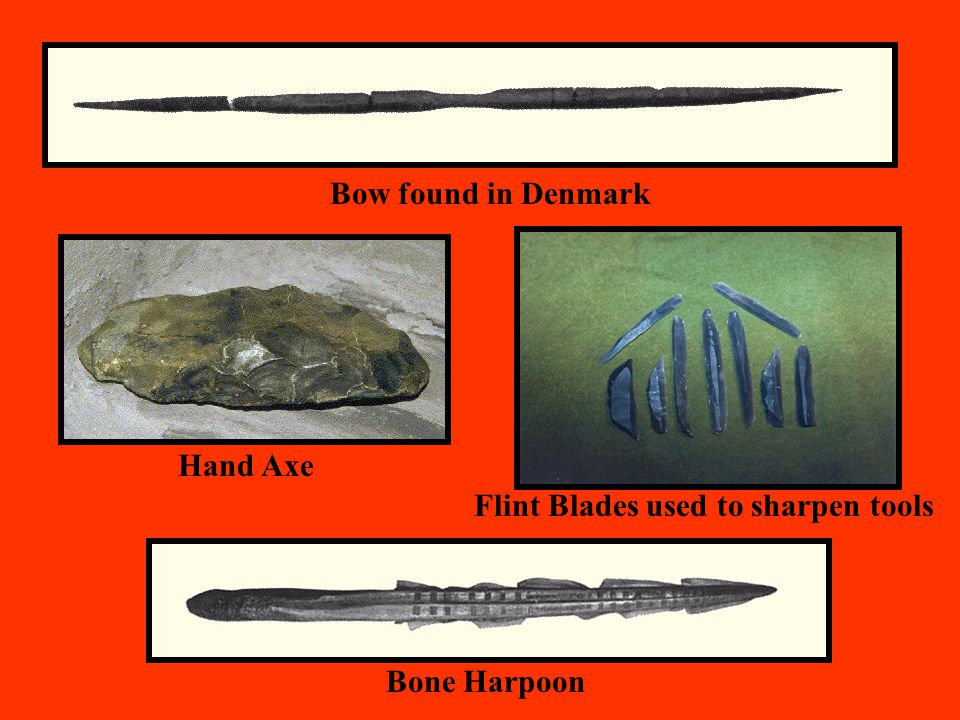 Bow found in Denmark Hand Axe Flint Blades used to sharpen tools Bone Harpoon