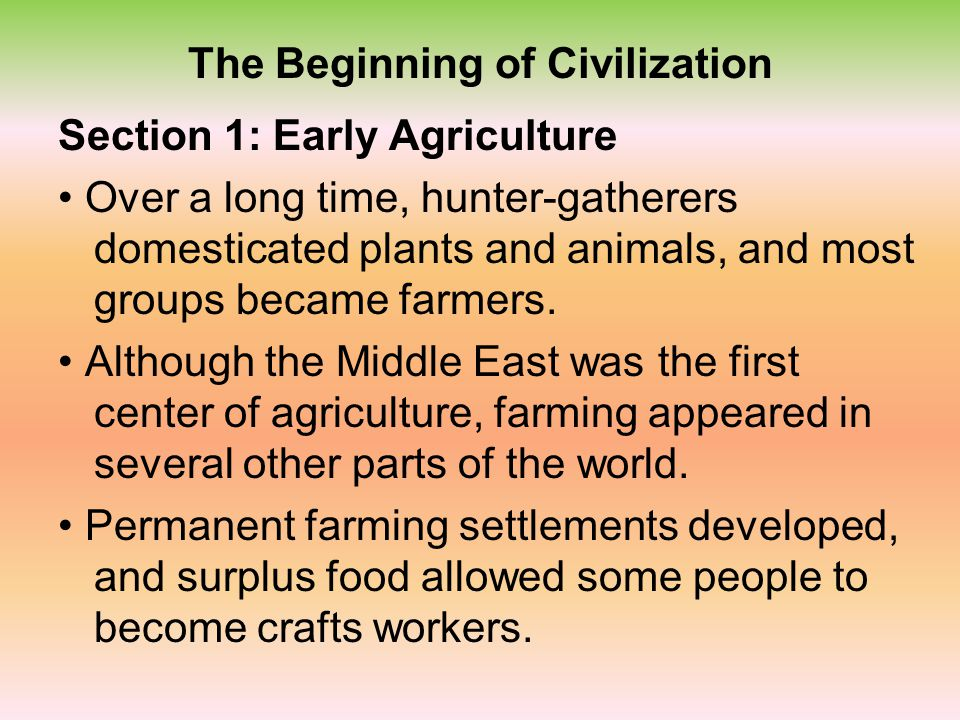 The Beginning of Civilization