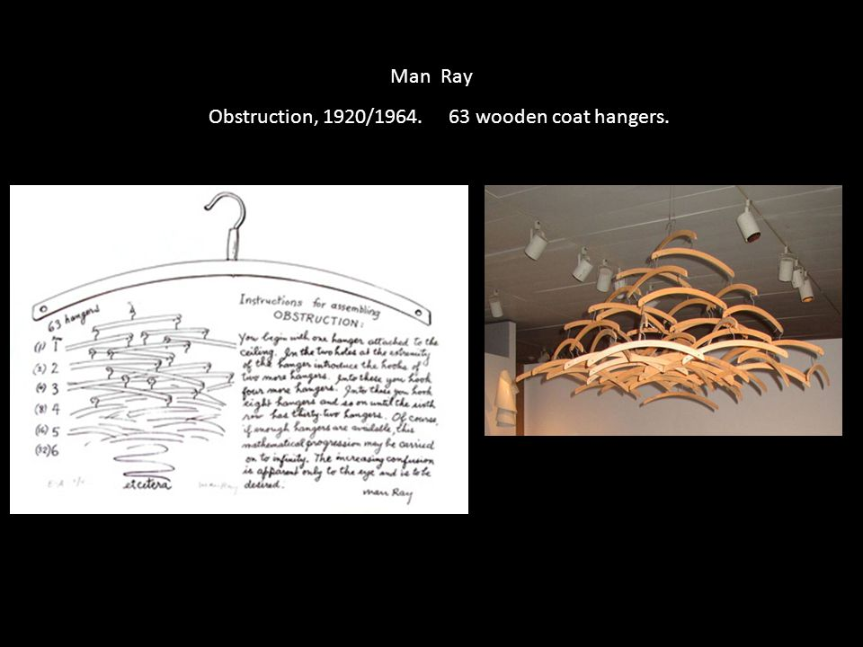 Man Ray Obstruction, 1920/1964. 63 wooden coat hangers.
