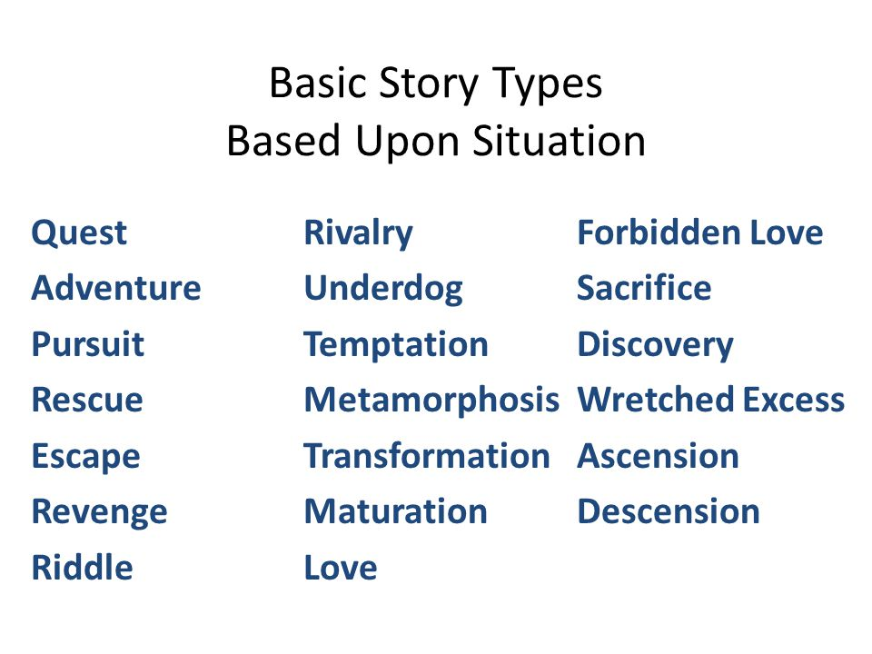 Basic Story Types Based Upon Situation