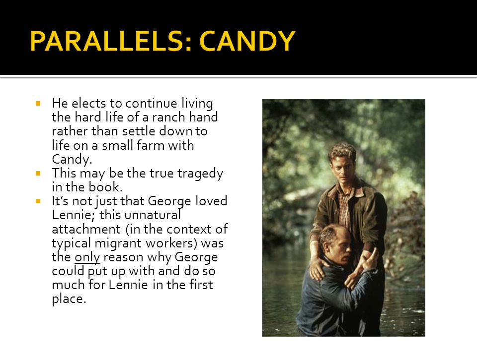 PARALLELS: CANDY He elects to continue living the hard life of a ranch hand rather than settle down to life on a small farm with Candy.