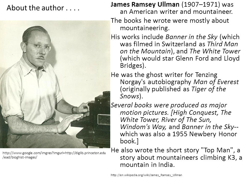 About the author . . . . James Ramsey Ullman (1907–1971) was an American writer and mountaineer.