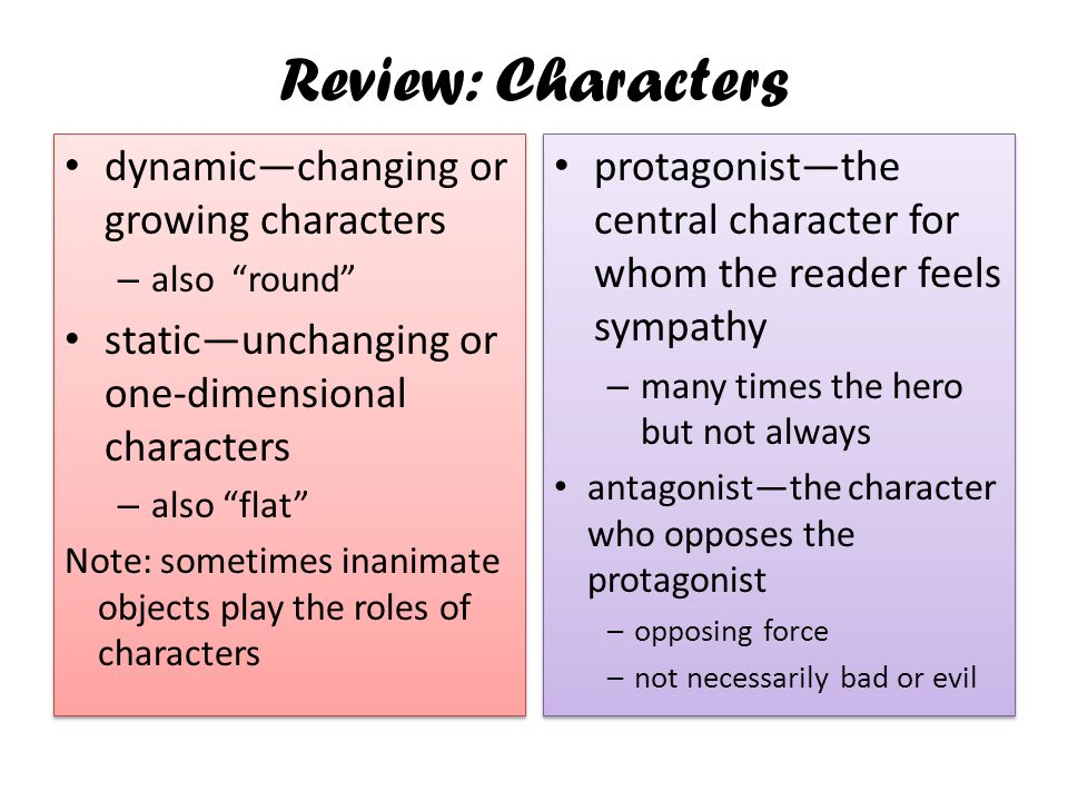 Review: Characters dynamic—changing or growing characters