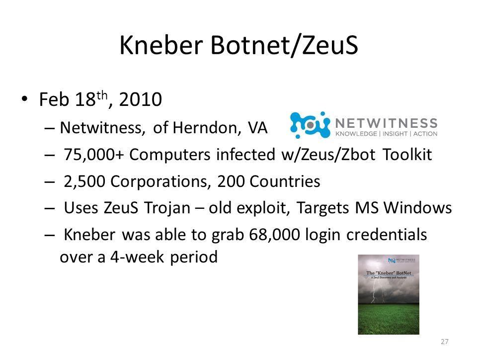 Kneber Botnet/ZeuS Feb 18th, 2010 Netwitness, of Herndon, VA