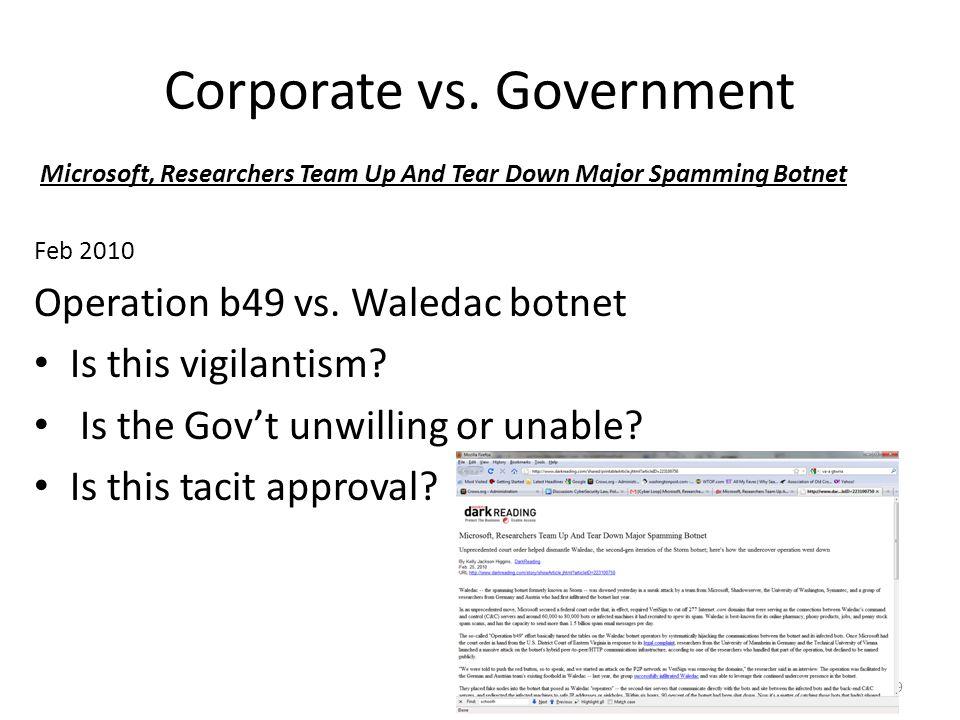 Corporate vs. Government