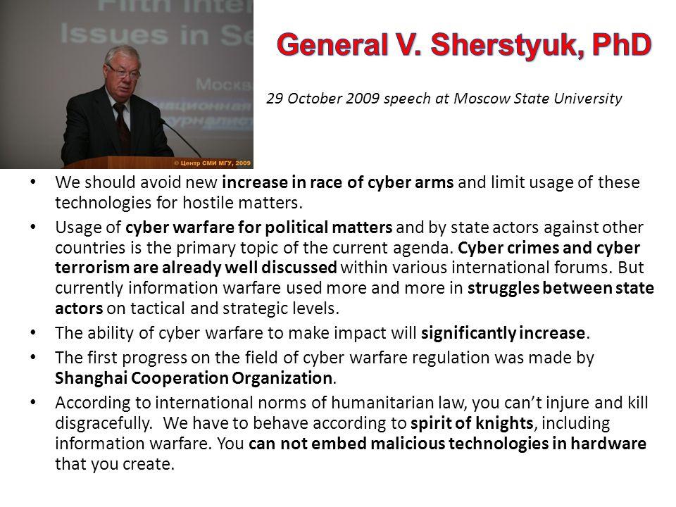 General V. Sherstyuk, PhD