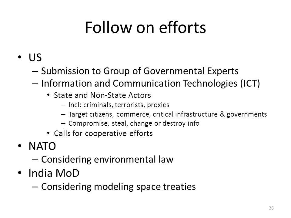 Follow on efforts US NATO India MoD