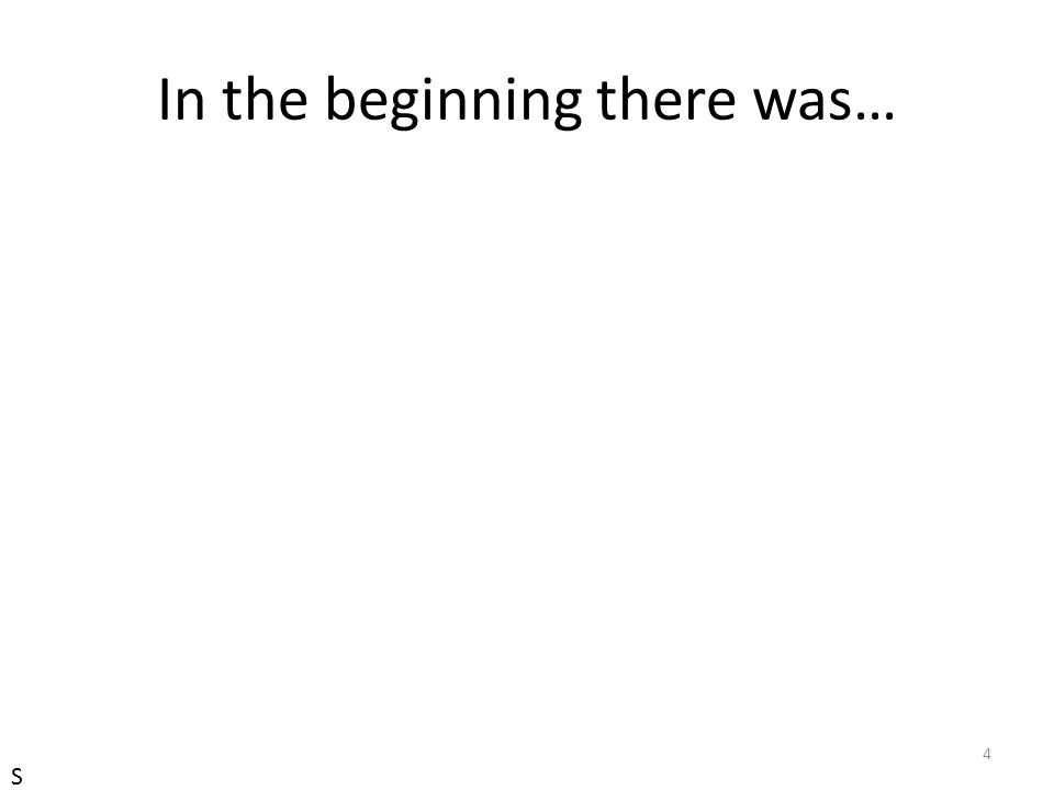 In the beginning there was…