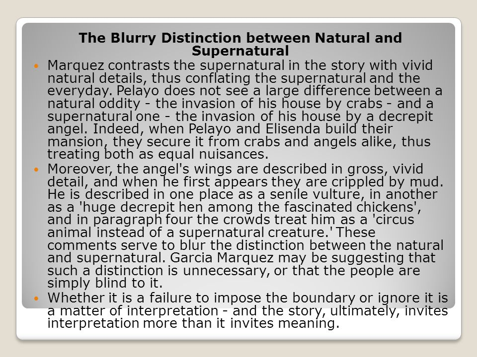 The Blurry Distinction between Natural and Supernatural