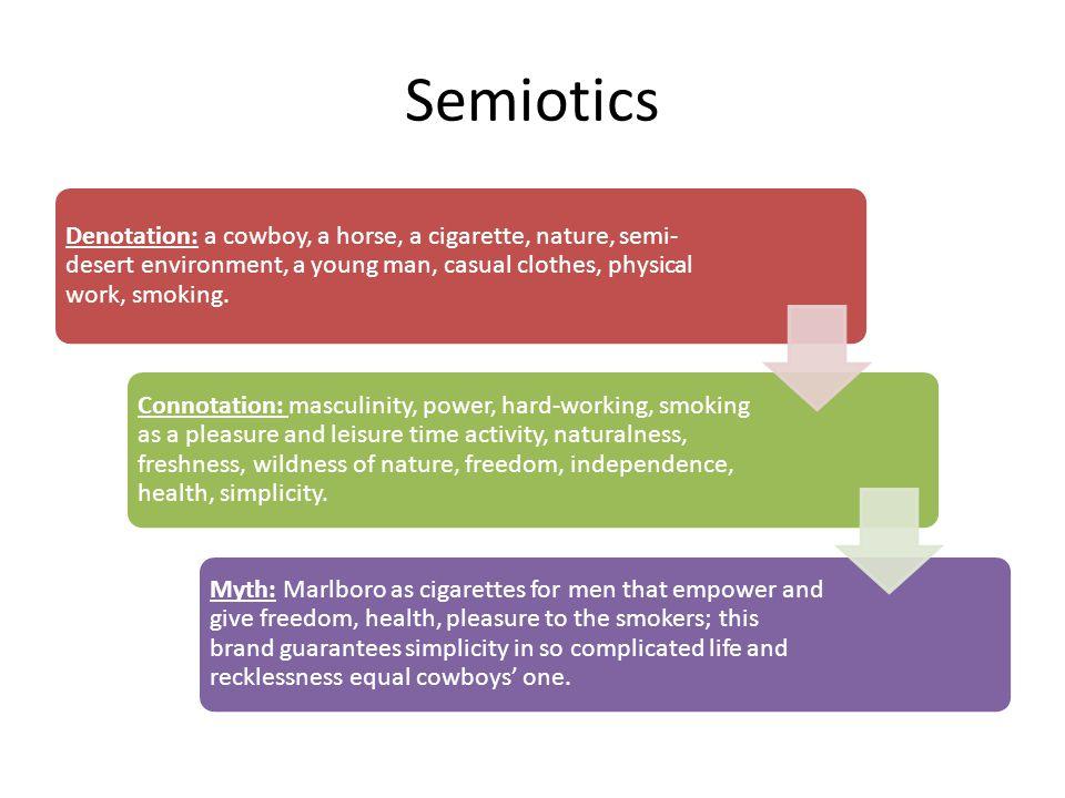 Semiotics Denotation: a cowboy, a horse, a cigarette, nature, semi-desert environment, a young man, casual clothes, physical work, smoking.