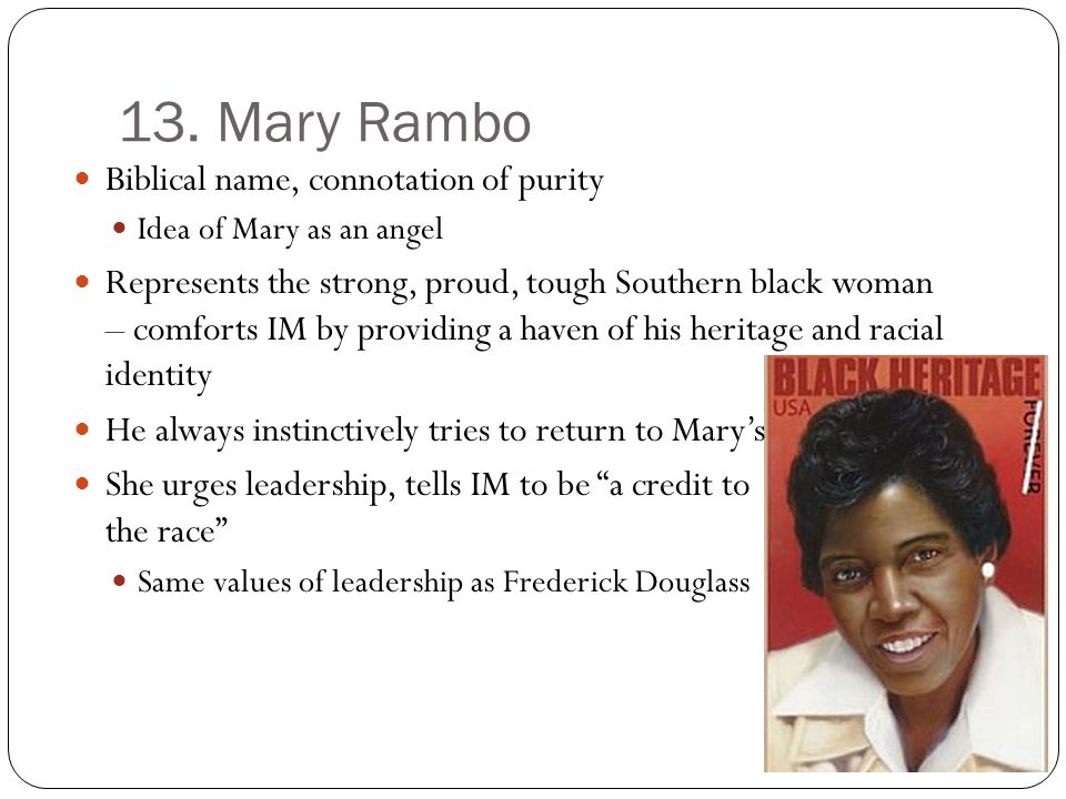 13. Mary Rambo Biblical name, connotation of purity
