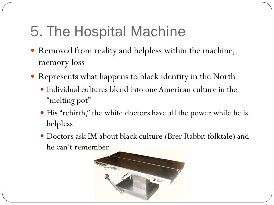 5. The Hospital Machine Removed from reality and helpless within the machine, memory loss. Represents what happens to black identity in the North.