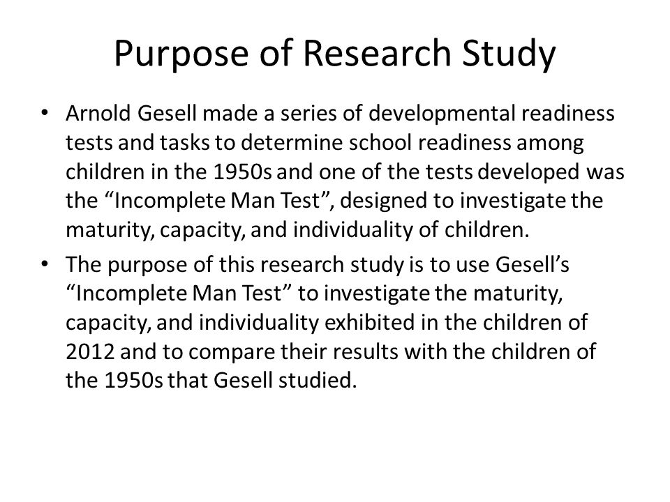 Purpose of Research Study