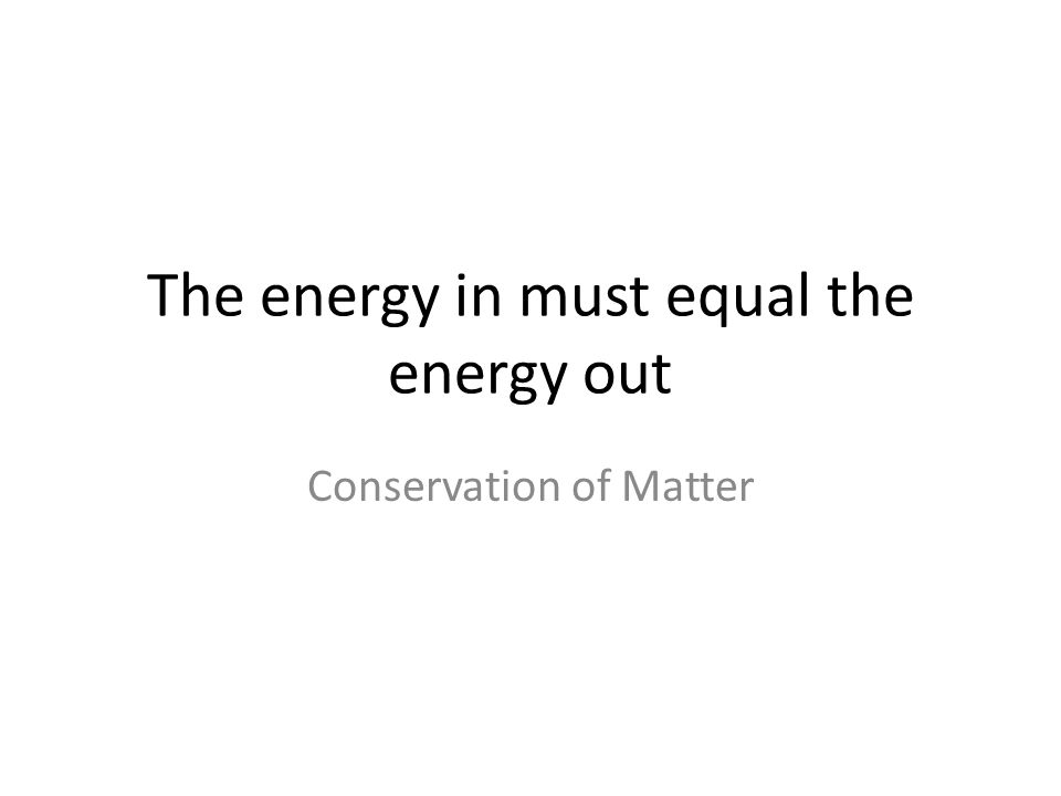 The energy in must equal the energy out