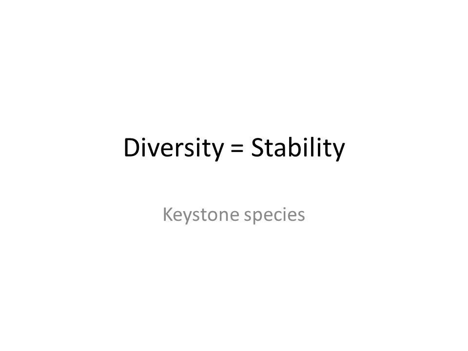 Diversity = Stability Keystone species