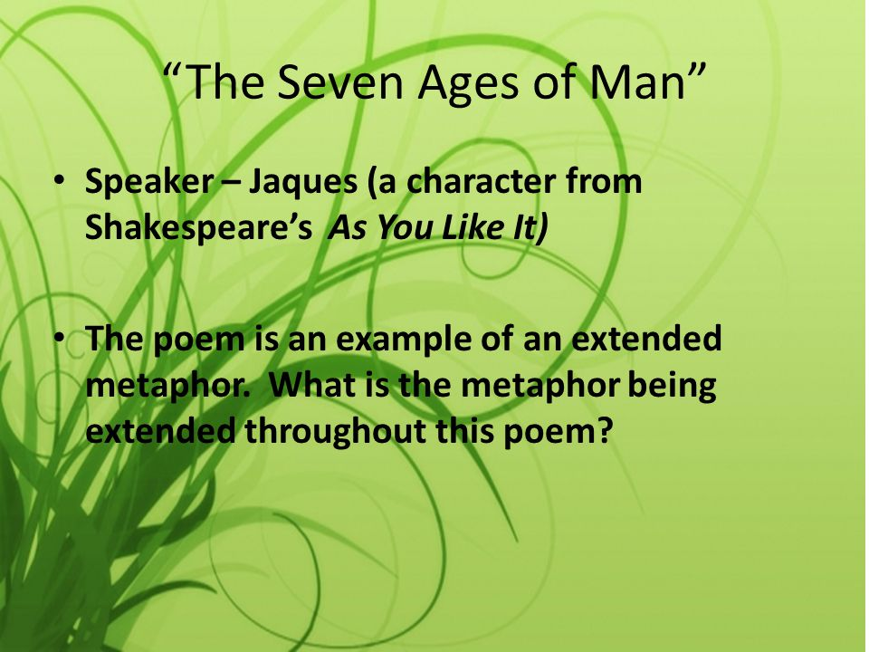 The Seven Ages of Man Speaker – Jaques (a character from Shakespeare's As You Like It)