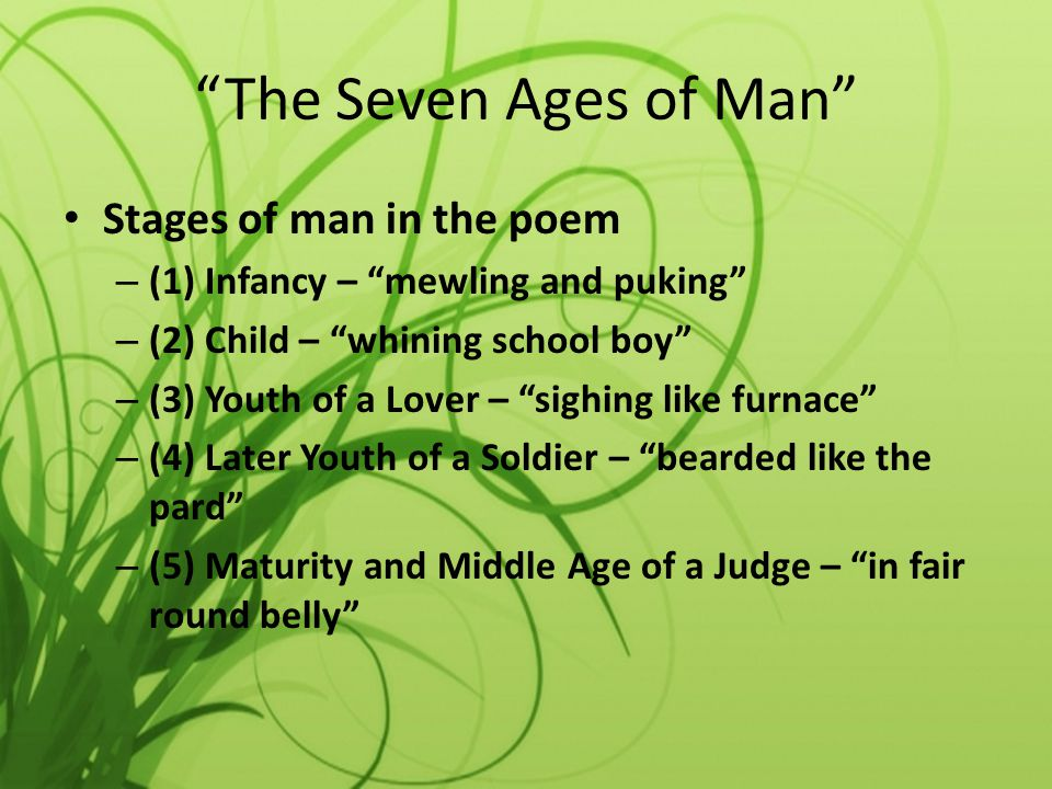 The Seven Ages of Man Stages of man in the poem