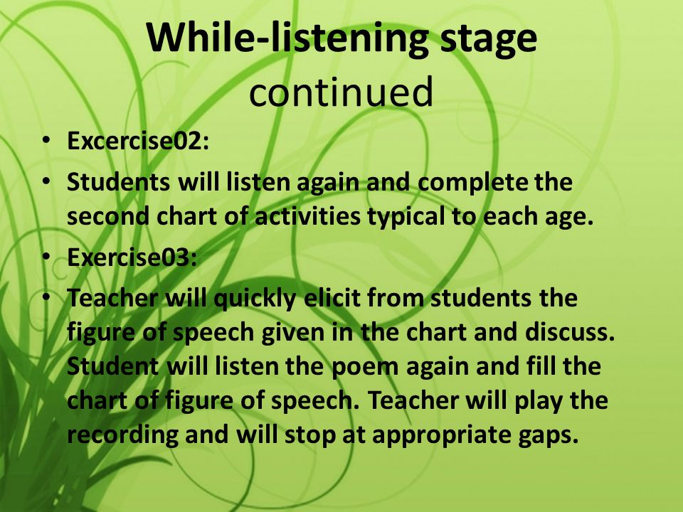 While-listening stage continued