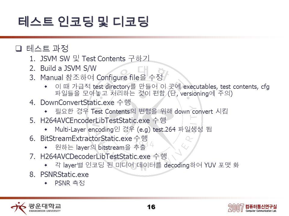 테스트 인코딩 및 디코딩 테스트 과정 JSVM SW 및 Test Contents 구하기 Build a JSVM S/W