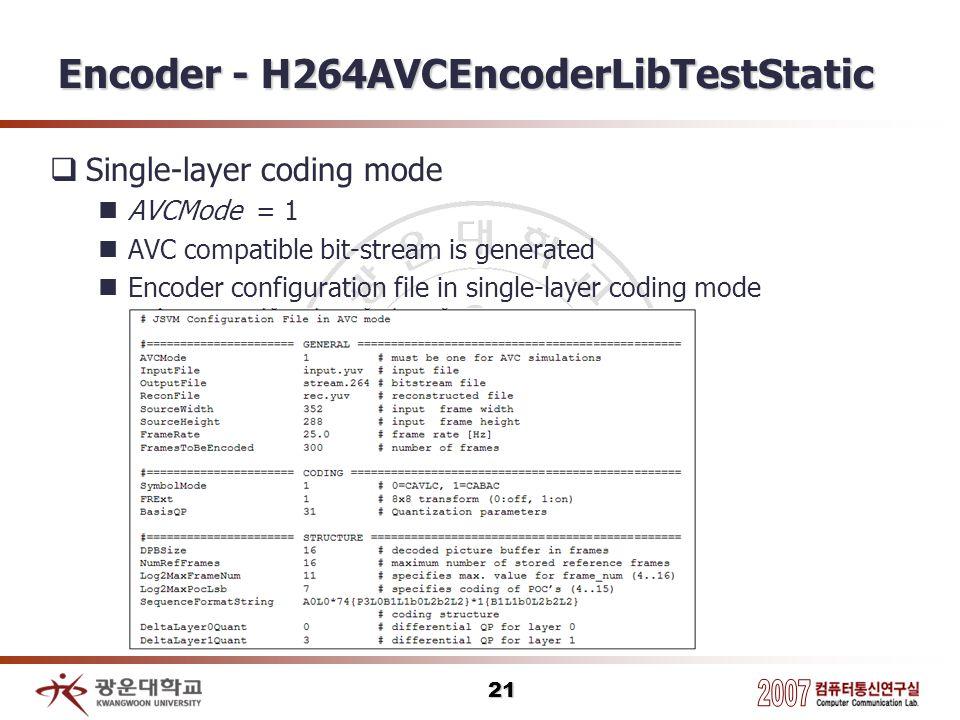 Encoder - H264AVCEncoderLibTestStatic
