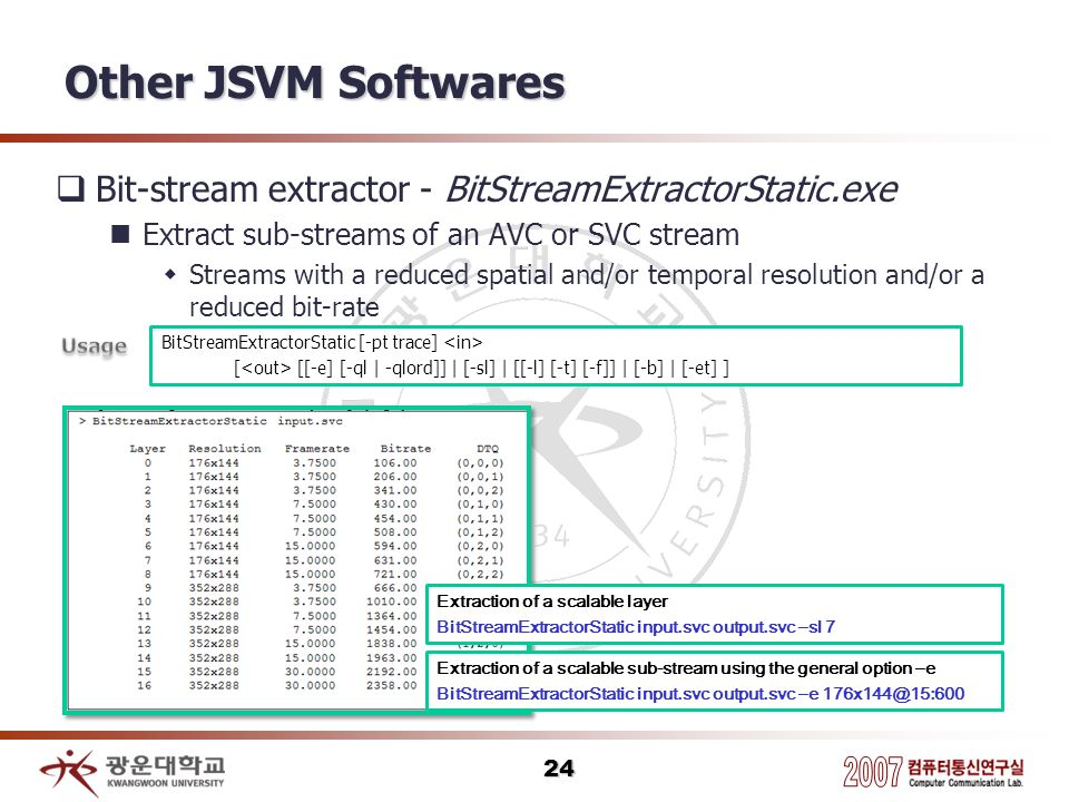 Other JSVM Softwares Bit-stream extractor - BitStreamExtractorStatic.exe. Extract sub-streams of an AVC or SVC stream.