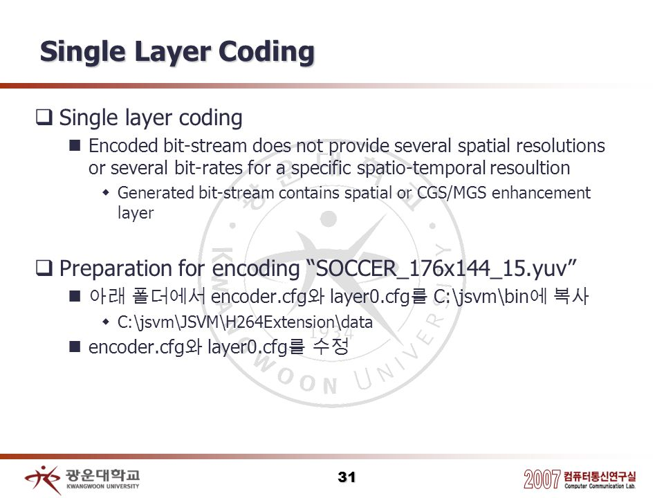 Single Layer Coding Single layer coding