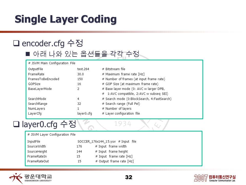 Single Layer Coding encoder.cfg 수정 layer0.cfg 수정 아래 나와 있는 옵션들을 각각 수정